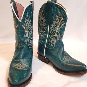 Roper little kid sz 12 green/teal cowboy boots